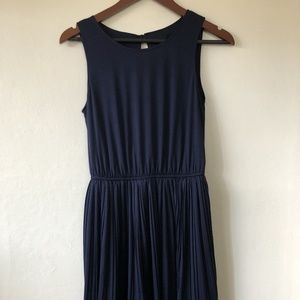 Navy Pleated Dress with keyhole back